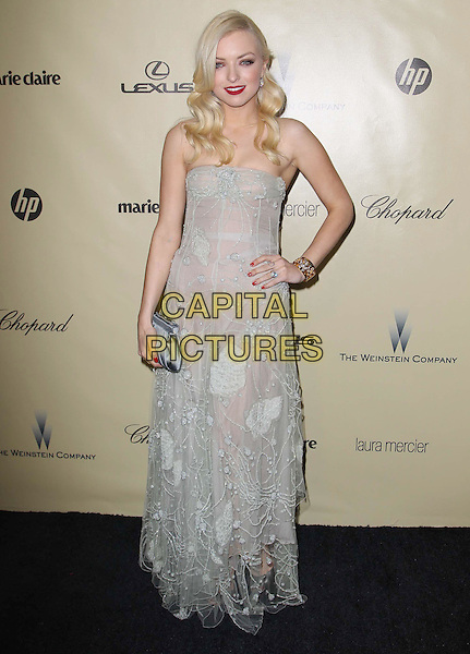 Francesca Eastwood.The Weinstein Company's 2013 Golden Globe After Party held at The Old trader vic's at The Beverly Hilton Hotel in Beverly Hills, California, USA..January 13th, 2013.globes full length blue lace sheer strapless dress hand on hip clutch bag.CAP/ADM/KB.©Kevan Brooks/AdMedia/Capital Pictures.