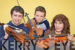 Liam O'Shea Currow, Conor Daly Rockchapel and Pat Owen Annuscaul who participated at the fiddle workshop as part of Padraig O'Keeffe Festival in St Patrick's college Castleisland on Saturday