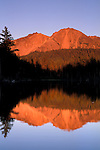 Sunset light on Chaos Crags reflected in Reflection Lake, Lassen Volcanic National Park, Shasta County, California Sunset light on Chaos Crags reflected in Reflection Lake, Lassen Volcanic National Park, Shasta County, California