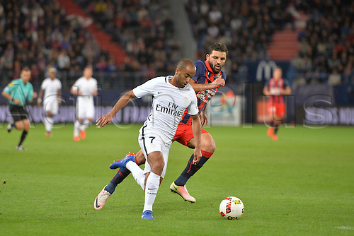 16.09.2016. Caen, France. French Leagie 1 football. Caen versus Paris St Germain.  Lucas (psg) breaks away from Syam Ben Youssef (cae)