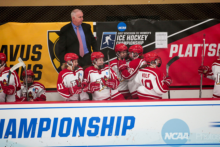 ADRIAN, MI - MARCH 18: Plattsburgh State University celebrates after a goal is scored during the Division III Women's Ice Hockey Championship held at Arrington Ice Arena on March 19, 2017 in Adrian, Michigan. Plattsburgh State defeated Adrian 4-3 in overtime to repeat as national champions for the fourth consecutive year. by Tony Ding/NCAA Photos via Getty Images)