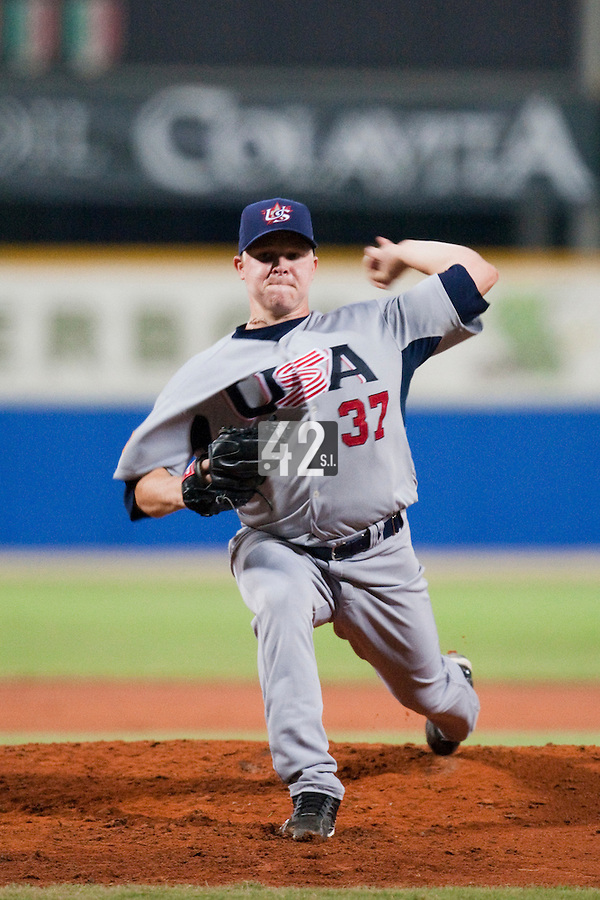 25 September 2009: Kasey Kiker of Team USA pitches against Netherlands during the 2009 Baseball World Cup final round match won 8-2 by Team USA over Netherlands, in Nettuno, Italy.