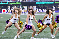 SEATTLE, WA - OCTOBER 28:  Washington cheerleader Tessa Locknane entertained fans during the game against UCLA on October 28, 2017 at Husky Stadium in Seattle, WA. Washington won 44-23 over UCLA.