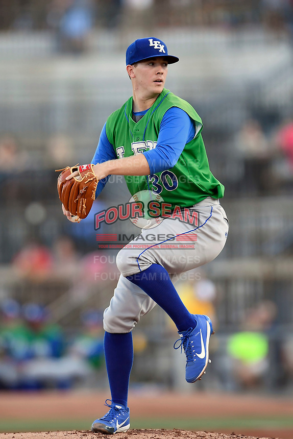 Starting pitcher Travis Eckert (30) of the Lexington Legends delivers a pitch in a game against the Columbia Fireflies on Thursday, June 8, 2017, at Spirit Communications Park in Columbia, South Carolina. Columbia won, 8-0. (Tom Priddy/Four Seam Images)