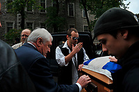 Montreal  (QC) CANADA - Oct 3 2009 - Family and PQ members gather to pay tribute filmmaker and separatist figure Pierre Falardeau, Oct 3rd 2009 at Saint-Jean-Baptiste church in Montreal. In the photo :  his son (with glasses)