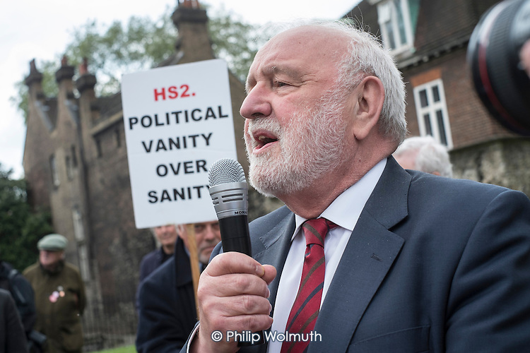 Frank Dobson MP.  Stop HS2 demonstration outside Parliament on the day of the second reading of the HS2 Hybrid Bill.