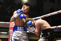 Brandon Ball (blue/white shorts) defeats Jamie Speight during a Boxing Show at York Hall on 3rd March 2018