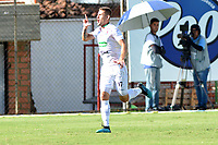ENVIGADO - COLOMBIA, 01-10-2019: Juan David Rodríguez de Once Caldas celebra el gol anotado al Envigado F. C., durante partido entre Envigado F. C. y Once Caldas de la fecha 14 por la Liga Águila II 2019, en el estadio Polideportivo Sur de la ciudad de Envigado. / Juan David Rodriguez of Once Caldas celebrates the third scored goal to Envigado F. C., during a match between Envigado F. C., and Once Caldas of the 14th date  for the Aguila Leguaje II 2019 at the Polideportivo Sur stadium in Envigado city. Photo: VizzorImage / León Monsalve / Cont.