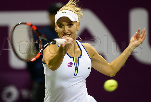 26.02.2016. Doha, Qatar.  Elena Vesnina of Russia competes during her womens singles quarterfinal match against Carla Suarez Navarro of Spain at the WTA Tennis Damen Qatar Open 2016 in Doha, Qatar, Feb. 25, 2016. Carla Suarez Navarro won 2-0.