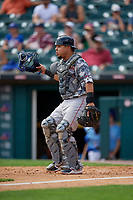 Pawtucket Red Sox catcher Juan Centeno (2) during an International League game against the Buffalo Bisons on August 25, 2019 at Sahlen Field in Buffalo, New York.  Buffalo defeated Pawtucket 5-4 in 11 innings.  (Mike Janes/Four Seam Images)