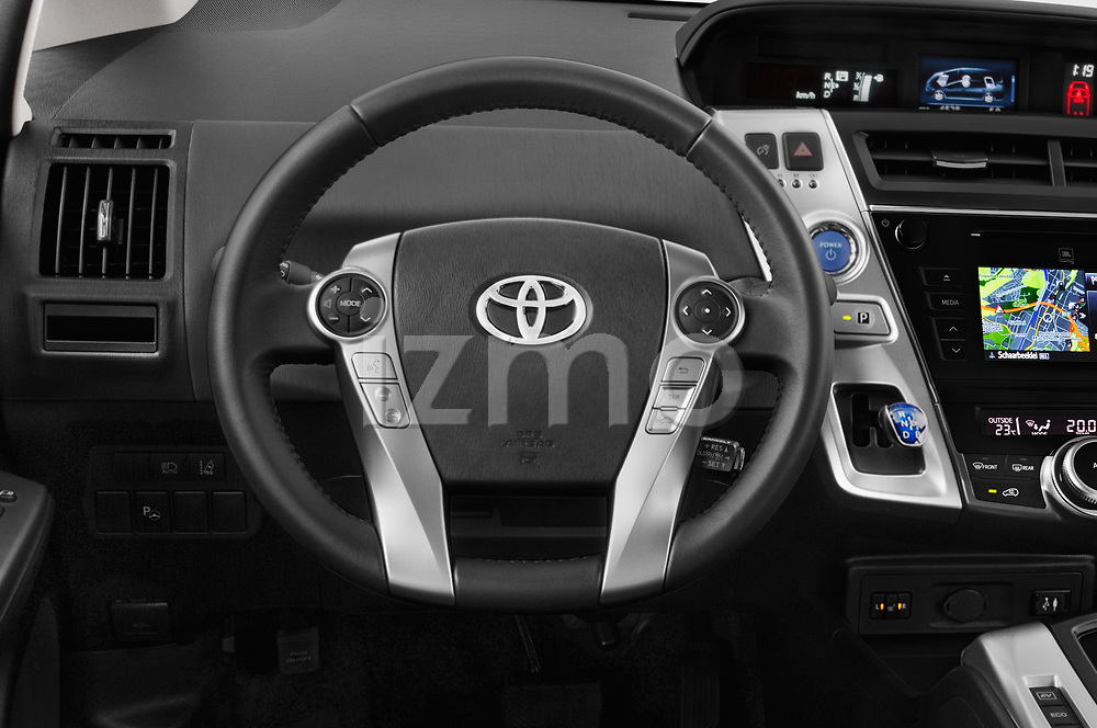 Car pictures of steering wheel view of a 2018 Toyota Grand-Prius+ business-plus 5 Door Mini Mpv Steering Wheel