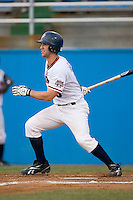 Sean Rooney #5 of the Potomac Nationals follows through on his swing versus the Winston-Salem Dash at Pfitzner Stadium June 11, 2009 in Woodbridge, Virginia. (Photo by Brian Westerholt / Four Seam Images)