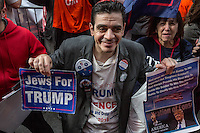 NEW YORK,NY October 29,2016. A jews man hods a banner supporting Trump during a  rally for Donald Trump outside of Trump Tower in Manhattan October 29,2016. Photo by VIEWpress/Maite H. Mateo