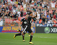 Andy Najar #14 of D.C. United aftr scoring the first goal during an MLS match against Chivas USA at RFK Stadium, on May 29 2010 in Washington DC. United won 3-2.