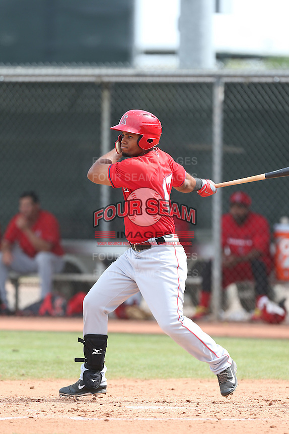 Nathaniel Delgado #17 of the Los Angeles Angels bats during a Minor League Spring Training Game against the Chicago Cubs at the Los Angeles Angels Spring Training Complex on March 23, 2014 in Tempe, Arizona. (Larry Goren/Four Seam Images)