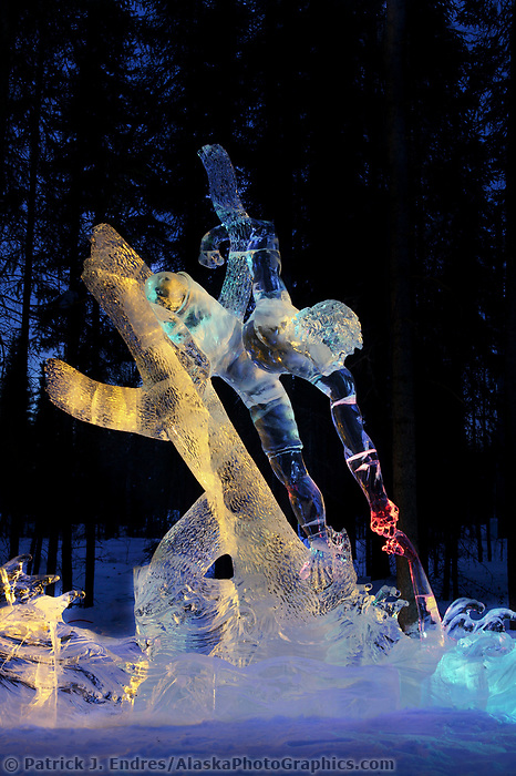 Rescue, by Steve Brice and Aaron Costic, 4th place Single Block, 2003 World Ice Art Championships, Fairbanks Alaska.
