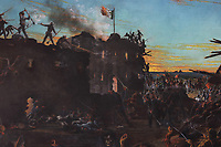 Dawn at the Alamo, detail of the burning chapel, 1905, by Henry McArdle, 1836-1908, in the Senate, in the Texas State Capitol, designed in 1881 by Elijah E Myers and built 1882-88, Austin, Texas, USA. The Battle of the Alamo marked a turning point in the Texas Revolution, inspiring many more Texans to join up to defeat Santa Anna. The original painting by McArdle, completed in 1875, was destroyed in a fire in 1881. Picture by Manuel Cohen