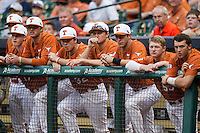 Texas Longhorns bench during the NCAA baseball game against the Houston Cougars on March 1, 2014 during the Houston College Classic at Minute Maid Park in Houston, Texas. The Longhorns defeated the Cougars 3-2. (Andrew Woolley/Four Seam Images)