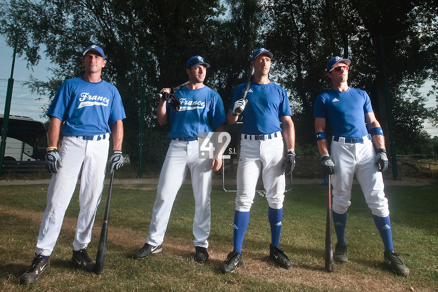 21 july 2010: Robin Allemand, Gaspard Fessy, Jerome Rousseau, Joris Bert during a practice prior to the 2010 European Championship Seniors, in Neuenburg, Germany.