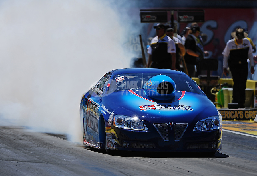 Apr. 1, 2011; Las Vegas, NV, USA: NHRA pro stock driver Greg Stanfield during qualifying for the Summitracing.com Nationals at The Strip in Las Vegas. Mandatory Credit: Mark J. Rebilas-
