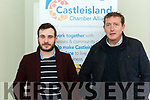 Neil Browne (Secretary Castleisland Chamber Alliance) and Tomas O' Chonchuir (Culture Officer) at the unveiling of the new site for the Castleisland Tourist Information centre at the old library.