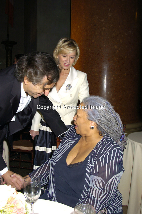 Bernard-Henry Levy, Tina Brown and Toni Morrison ..at the 2005 Pen Montblanc Literary Gala at The American Museum of Natural History on April 20, 2005. The Gala honors domestic and international champions of free expression with the Freedom of Expression Awards. ..Photo by Robin Platzer, Twin Images..