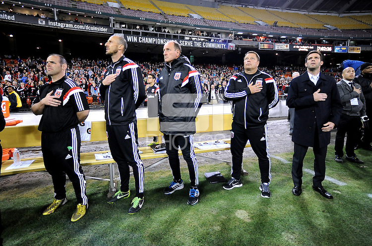 Washington D.C. - March 8, 2014: D.C. United Head Coach Ben Olsen. The Columbus Crew defeated D.C. United 3-0 during the opening game of the 2014 season at RFK Stadium.