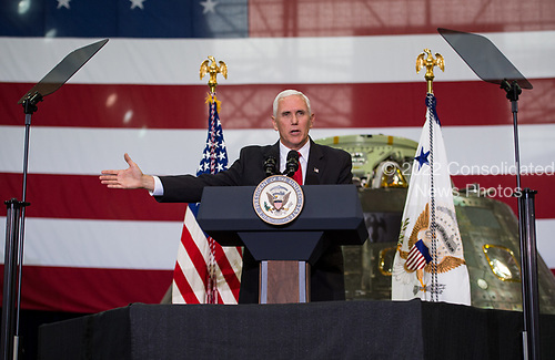 In this photo released by the National Aeronautics and Space Administration (NASA) United States Vice President Mike Pence addresses NASA employees, Thursday, July 6, 2017, at the Vehicle Assembly Building at NASA&rsquo;s Kennedy Space Center (KSC) in Cape Canaveral, Florida. The Vice President thanked employees for advancing American leadership in space, following a tour that highlighted the public-private partnerships at KSC, as both NASA and commercial companies prepare to launch American astronauts from the multi-user spaceport. <br /> Mandatory Credit: Aubrey Gemignani / NASA via CNP