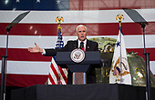 In this photo released by the National Aeronautics and Space Administration (NASA) United States Vice President Mike Pence addresses NASA employees, Thursday, July 6, 2017, at the Vehicle Assembly Building at NASA's Kennedy Space Center (KSC) in Cape Canaveral, Florida. The Vice President thanked employees for advancing American leadership in space, following a tour that highlighted the public-private partnerships at KSC, as both NASA and commercial companies prepare to launch American astronauts from the multi-user spaceport. <br /> Mandatory Credit: Aubrey Gemignani / NASA via CNP