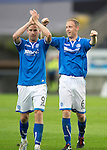 Rosenborg v St Johnstone....18.07.13  UEFA Europa League Qualifier.<br /> STEVEN ANDERSON AND STEVEN MACLEAN CELEBRATE AT FULL TIME<br /> Picture by Graeme Hart.<br /> Copyright Perthshire Picture Agency<br /> Tel: 01738 623350  Mobile: 07990 594431