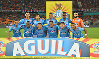 MEDELLIN - COLOMBIA, 09-02-2019: Jugadores del Union posan para una foto previo al e partido por la fecha 4 de la Liga Águila I 2019 entre Deportivo Independiente Medellín y Union Magdalena jugado en el estadio Atanasio Girardot de la ciudad de Medellín. / Players of Union pose to a photo prior Second leg final match of the Aguila League I 2019 between Deportivo Independiente Medellin and Union Magdalena played at Atanasio Girardot stadium in Medellin city. Photo: VizzorImage / Leon Monsalve / Cont