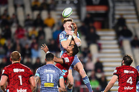 25th July 2020, Christchurch, New Zealand;  Jordie Barrett of the Hurricanes takes a high ball from Sevu Reece of the Crusaders during the Super Rugby Aotearoa, Crusaders versus Hurricanes at Orangetheory stadium, Christchurch