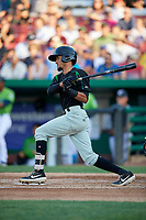Dayton Dragons Miguel Hernandez (13) at bat during a Midwest League game against the Kane County Cougars on July 20, 2019 at Northwestern Medicine Field in Geneva, Illinois.  Dayton defeated Kane County 1-0.  (Mike Janes/Four Seam Images)