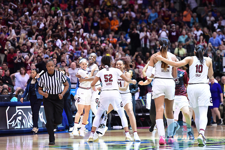 DALLAS, TX - MARCH 31:  South Carolina Gamecocks celebrate during the 2017 Women's Final Four at American Airlines Center on March 31, 2017 in Dallas, Texas. (Photo by Justin Tafoya/NCAA Photos via Getty Images)