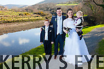 Anna Cournane, daughter of Noel & Mary Castlequin, Cahersiveen and Noel O'Shea, son of Dermot & Breda, Gortnaree, Kells who were married in The O'Connell Memorial Church, Cahersiveen on Friday 13th March.  Fr. Larry Kelly officiated at the ceremony.  Best man was Colm O'Shea & Groomsmen were Sean Cournane & Jamie Evans-O'Shea.  Maid of Honor was Marian Cournane assisted Hazel O'Shea.  The reception was held in The Waterville Lake Hotel and the couple will reside in the UK pictured here with l-r; Jamie Evans-O'Shea & Joeseph O'Shea.