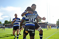 Semesa Rokoduguni of Bath Rugby is congratulated on his try by team-mate Taulupe Faletau. Aviva Premiership match, between Bath Rugby and Saracens on September 9, 2017 at the Recreation Ground in Bath, England. Photo by: Patrick Khachfe / Onside Images