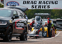Aug 17, 2018; Brainerd, MN, USA; NHRA top fuel driver Leah Pritchett during qualifying for the Lucas Oil Nationals at Brainerd International Raceway. Mandatory Credit: Mark J. Rebilas-USA TODAY Sports