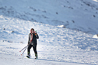 Pictured: A man climbs up the slope with his skis in the snow at Storey Arms in the Brecon Beacons, Wales, UK. Monday 11 December 2017<br /> Re: Freezing temperatures, snow and ice has affected parts of the UK.