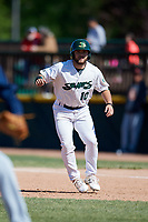 Beloit Snappers second baseman Nate Mondou (10) leads off first base during a game against the Bowling Green Hot Rods on May 7, 2017 at Pohlman Field in Beloit, Wisconsin.  Bowling Green defeated Beloit 6-2.  (Mike Janes/Four Seam Images)