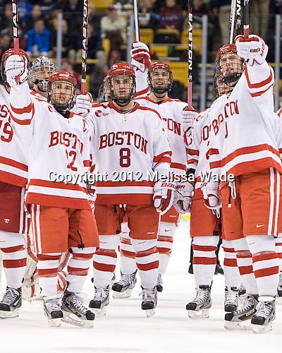 Chris Connolly (BU - 12), Ben Rosen (BU - 8), Max Nicastro (BU - 7), Patrick MacGregor (BU - 4) - The Boston University Terriers defeated the Harvard University Crimson 3-1 in the opening round of the 2012 Beanpot on Monday, February 6, 2012, at TD Garden in Boston, Massachusetts.