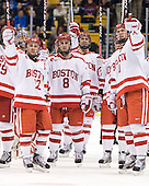 Chris Connolly (BU - 12), Ben Rosen (BU - 8), Max Nicastro (BU - 7), Patrick MacGregor (BU - 4) - The Boston University Terriers defeated the Harvard University Crimson 3-1 in the opening round of the 2012 Beanpot on Monday, February 6, 2012, at TD Garden in Boston, Massachusetts.