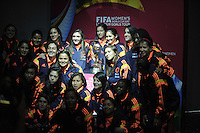 BOGOTA -  COLOMBIA - 02-03-2015: Integrantes de la Selección Femenina de Colombia, posan con el trofeo de la Copa Mundial Femenina de la FIFA Canada 2015 que es presentado en la sede Deportiva de la Federacion Colombiana de Futbol como parte de la gira mundial del Trofeo del torneo.  / Members of the Women's National Team Colombia, pose with the trophy of the Women's World Cup Canada 2015 is presented in Sports headquarters of the Colombian Football Federation as part of the world tour Trophy tournament. / Photo: VizzorImage / Luis Ramirez / Staff.