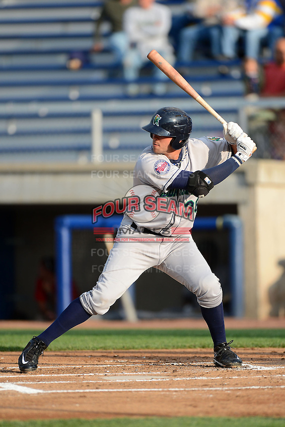 Cedar Rapids Kernels first baseman Dalton Hicks #36 during a game against the Beloit Snappers on May 22, 2013 at Pohlman Field in Beloit, Wisconsin.  Beloit defeated Cedar Rapids 7-6.  (Mike Janes/Four Seam Images)