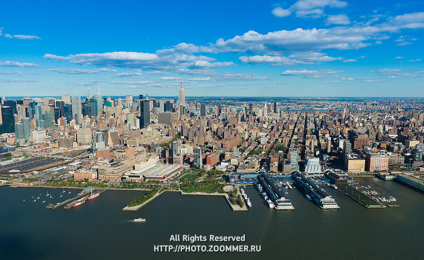 Manhattan West Side and piers aerial view, New York