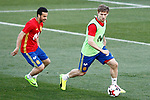 Spain's Pedro Rodriguez (l) and Nacho Monreal during training session. March 20,2017.(ALTERPHOTOS/Acero)
