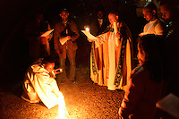 The blessing of the paschal fire on Easter Eve at the Crimean Church, Beyoglu, Istanbul, Turkey