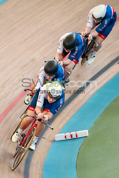 Picture by Alex Whitehead/SWpix.com - 18/02/2017 - Cycling - Tissot UCI Track Cycling World Cup - Velodromo Alcides Nieto Patino, Cali, Colombia - Great Britain compete in the Women's Team Pursuit Qualification.<br /> <br /> Manon Lloyd<br /> Emily Kay<br /> Emily Nelson<br /> Neah Evans