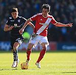 Alex Mowatt of Leeds pressures Kike of Middlesbrough - Middlesbrough vs. Leeds United - Skybet Championship - Riverside Stadium - Middlesbrough - 21/02/2015 Pic Philip Oldham/Sportimage