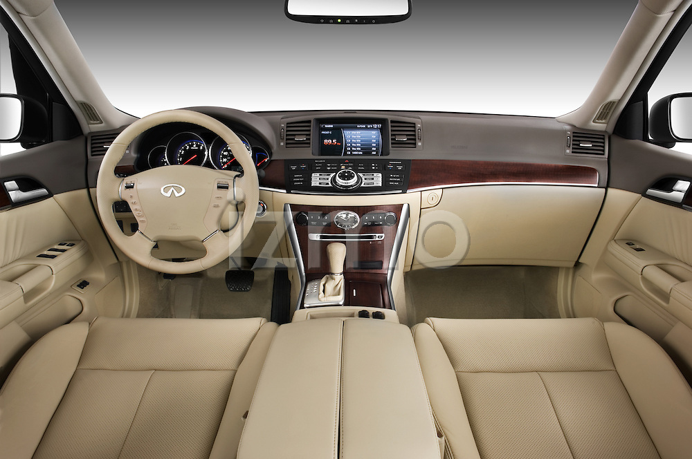 Straight dashboard view of a 2008 Infiniti M35.