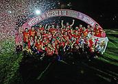 June 4th 2017, Estadi Montilivi,  Girona, Catalonia, Spain; Spanish Segunda División Football, Girona versus Zaragoza; Girona show their delight at being promoted to La Liga for 2017-18 season